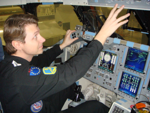 Per Wimmer In The Cockpit Of A US Space Shuttle Training Module