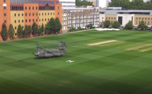 View from our office. Chinook lands on the HAC.