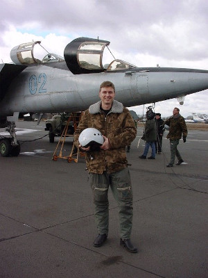 Per Wimmer in Front of a Russian MIG 25 Moments Before His Flight to 80.000 Feet Altitude at Mach 2.5